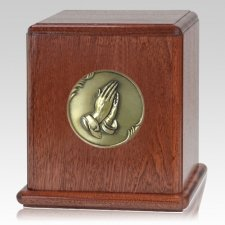 Prayer Mahogany Wood Urn