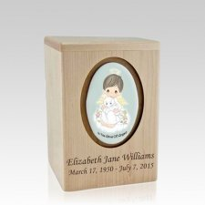 Precious Moments Brunette Boy Small Child Urn