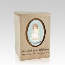 Precious Moments Brunette Girl Small Child Urn