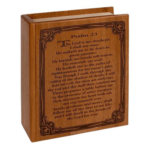 Psalm 23 Mahogany Cremation Urn
