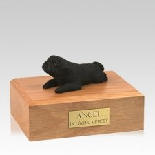 Pug Black Lounging Large Dog Urn