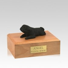 Pug Black Lounging Medium Dog Urn
