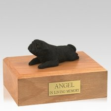 Pug Black Lounging X Large Dog Urn