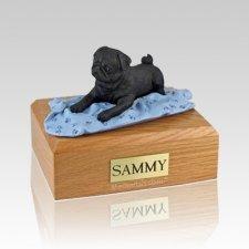 Pug Black with Blanket Large Dog Urn