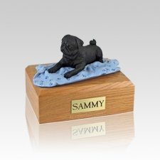 Pug Black with Blanket Small Dog Urn