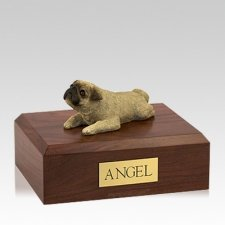 Pug Fawn Laying Large Dog Urn
