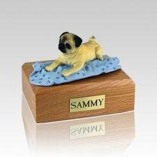 Pug Fawn with Blanket Medium Dog Urn