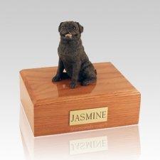 Pug Sitting Black Large Dog Urn