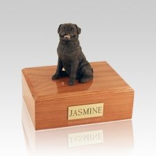 Pug Sitting Black Medium Dog Urn