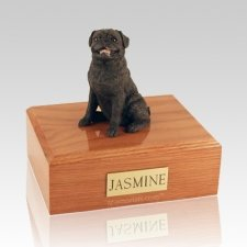 Pug Sitting Black Dog Urns