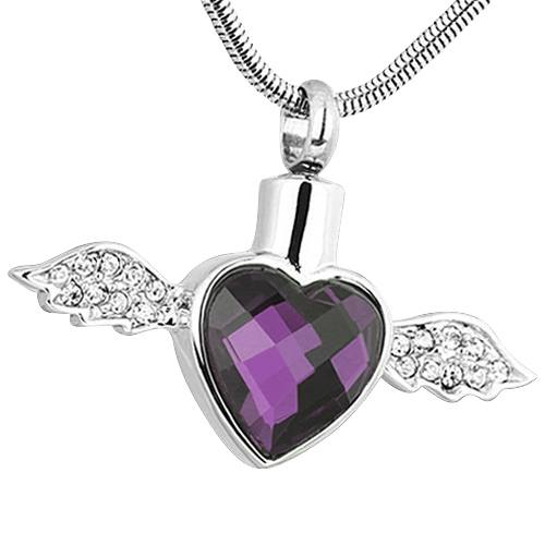 Purple Winged Heart Ash Necklace
