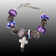 Purple Cross Cremation Bracelet