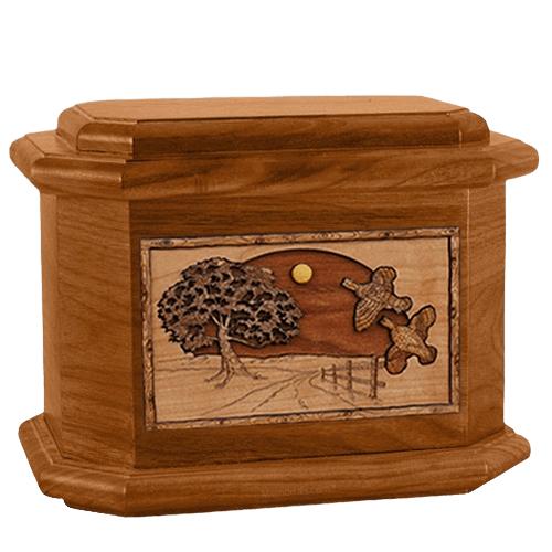 Quail Mahogany Octagon Cremation Urn