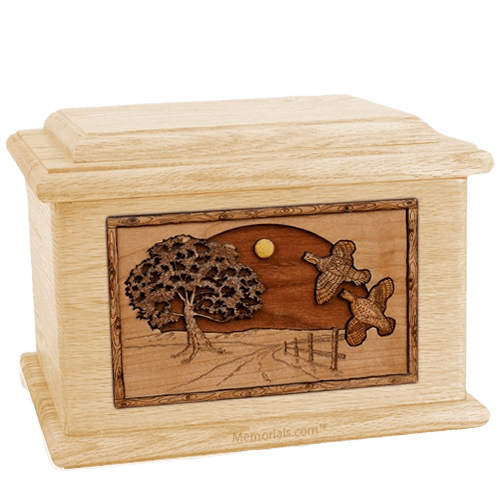 Quail Maple Memory Chest Cremation Urn