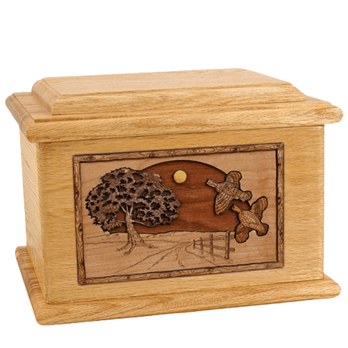 Quail Oak Memory Chest Cremation Urn