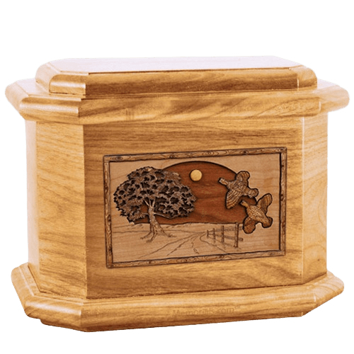 Quail Oak Octagon Cremation Urn