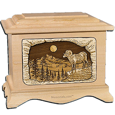 Ram Maple Cremation Urn for Two