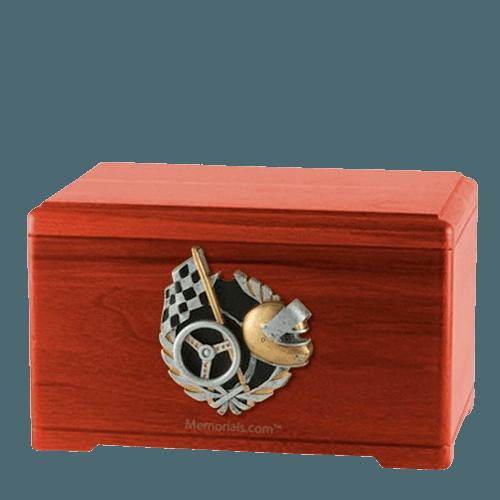 Racecar Fan Cherry Cremation Urn