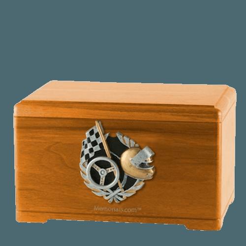 Racecar Fan Oak Cremation Urn