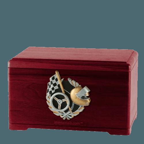 Racecar Fan Rosewood Cremation Urn