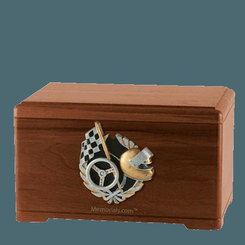 Racecar Fan Walnut Cremation Urn