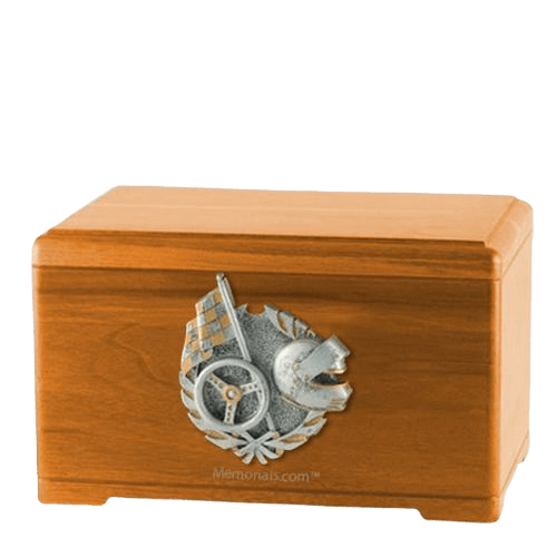 Racing Fan Oak Cremation Urn