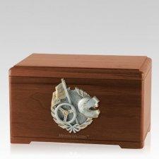 Racing Fan Walnut Cremation Urn
