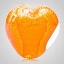 Radiant Orange Cremation Ash Glass Heart