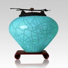 Raku Aqua Large Cremation Urn