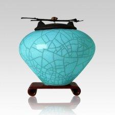 Raku Aqua Medium Cremation Urn