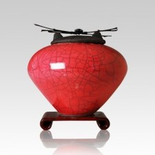 Raku Red Medium Cremation Urn