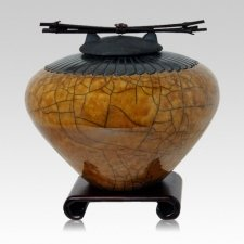 Raku Feather Coffee Cremation Urns