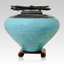 Raku Feather Turquoise Cremation Urns