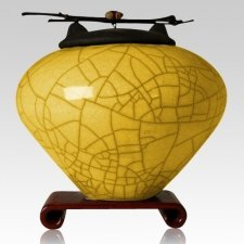 Raku Saffron Yellow Cremation Urns