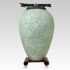 Raku Tall Lime Green Companion Cremation Urn