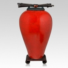 Raku Tall Red Cremation Urns