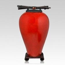 Raku Tall Red Cremation Urn