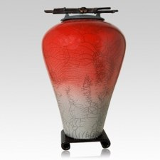 Raku Tall Red Star Cremation Urns