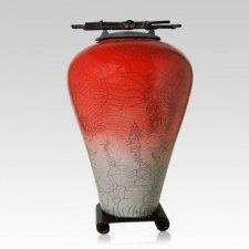 Raku Tall Red Star Cremation Urn