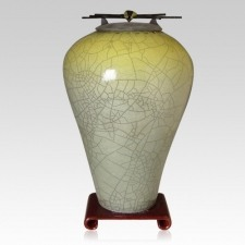 Raku Tall Sage Yellow Companion Cremation Urn