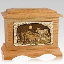 Ram Oak Cremation Urn