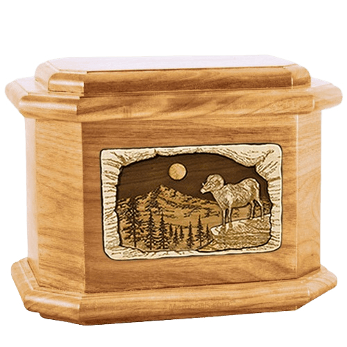 Ram Oak Octagon Cremation Urn