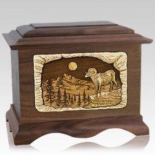 Ram Walnut Cremation Urn