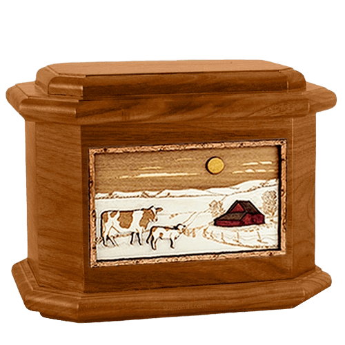 Ranch Mahogany Octagon Cremation Urn