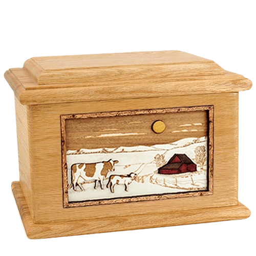 Ranch Oak Memory Chest Cremation Urn