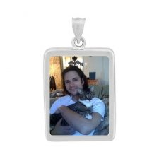 Rectangle White Gold Photo Jewelry