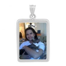 Rectangle White Gold Photo Pendant