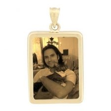 Rectangle Yellow Gold Etched Pendant
