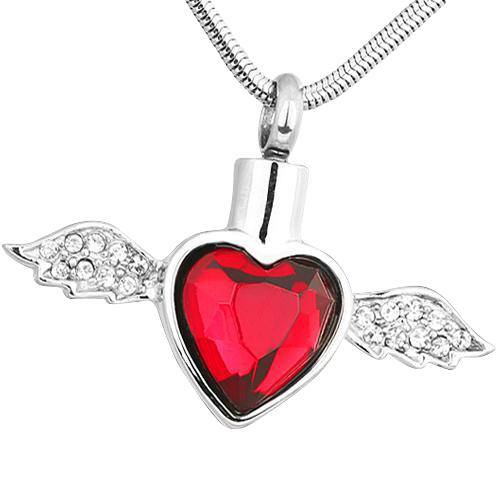 Red Winged Heart Ash Necklace