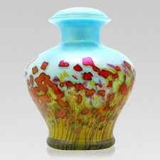 Red Bloom Glass Cremation Urn